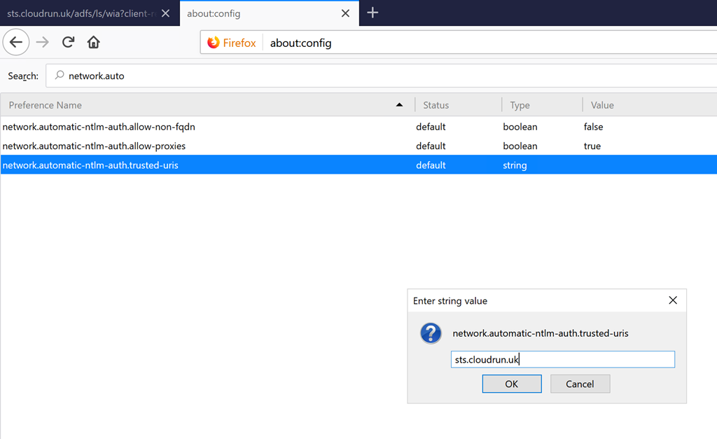Single Sign on (SSO) with Chrome & Firefox and ADFS 4 0