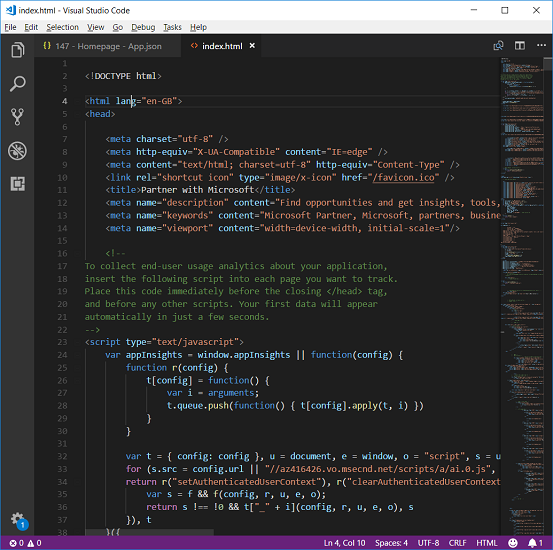 html code screenshot