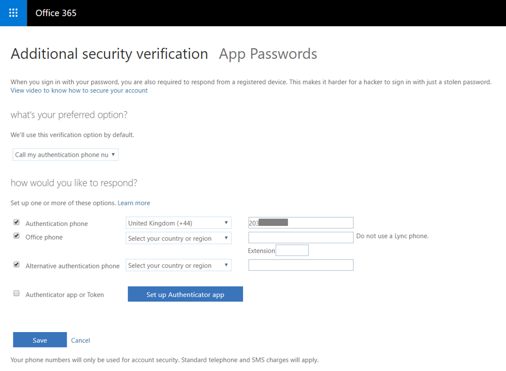 Office 365 - Enable Azure MFA for global admins and all