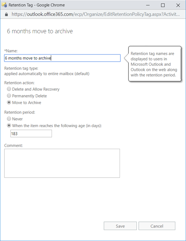 Enable Exchange Online Archive Mailboxes and Retention