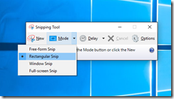 snipping tool mode selection
