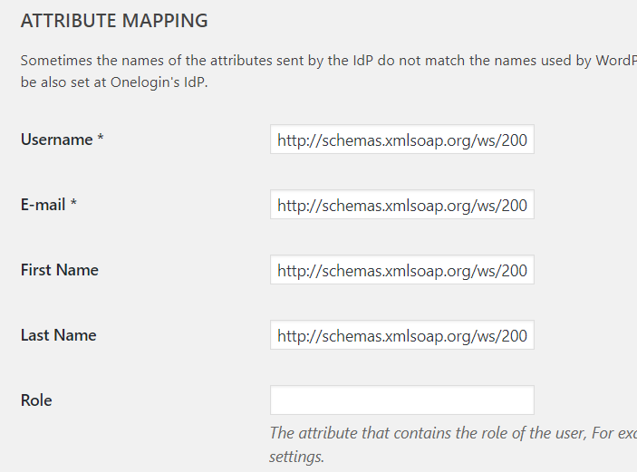 Wordpress SSO Onepress attribute mapping